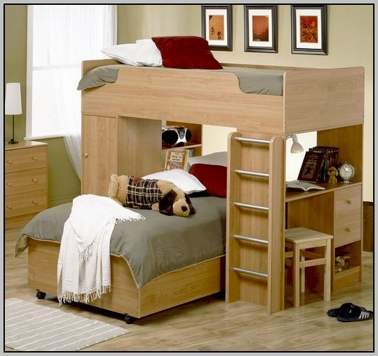 Charleston Storage Loft Bed With Desk Natural