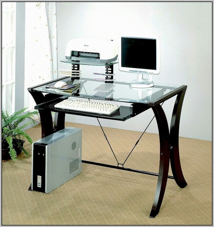 Glass Top Computer Desk With Keyboard Tray