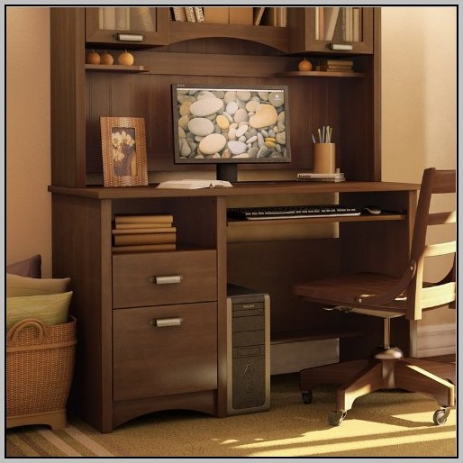 L Desk With Hutch Mahogany
