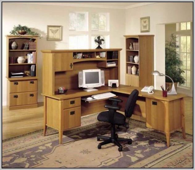 Modern Home Office Desk With Hutch