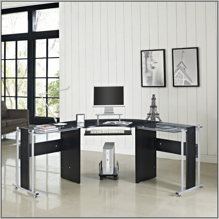 Modern L Shaped Glass Desk