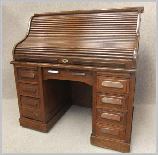 Oak Roll Top Desk Antique