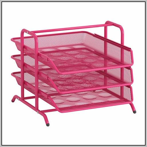 Pink Mesh Desk Accessories