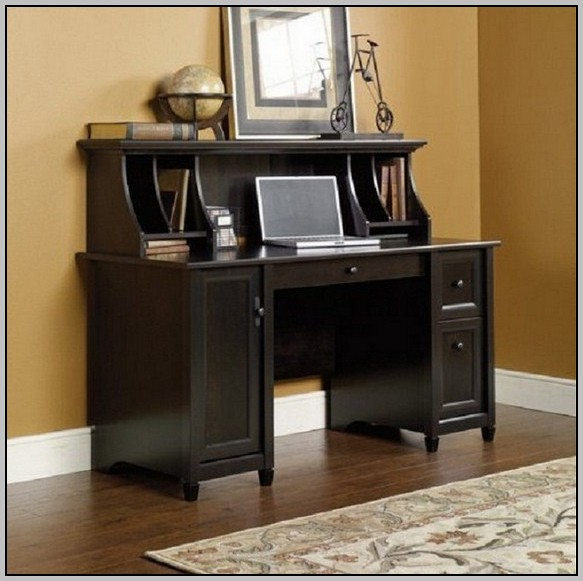 Sauder Harbor View Computer Desk With Hutch Antiqued Paint Finish