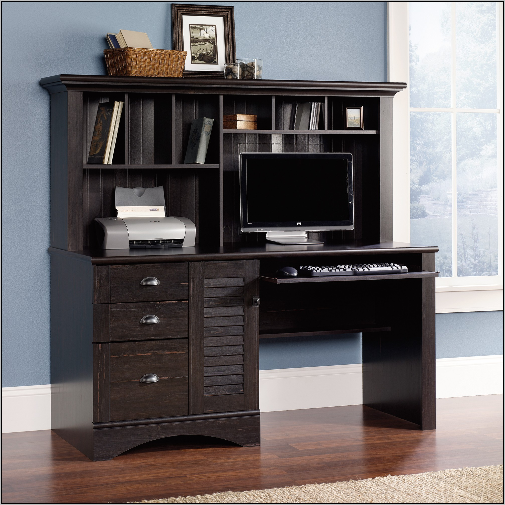 Sauder Harbor View Computer Desk Hutch Black