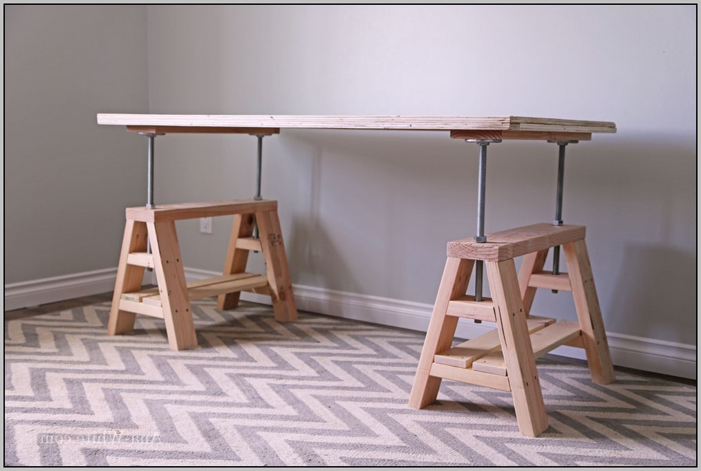 Sawhorse Desk With Glass Top