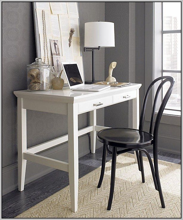 White Lacquer Desk With Lucite Pulls