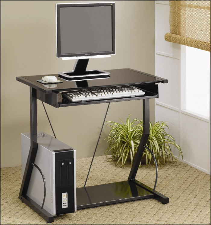 Wood Computer Desk With Keyboard Tray