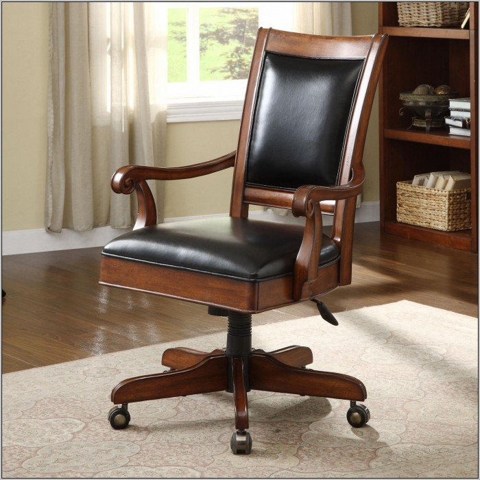 Wood Desk Chair With Casters