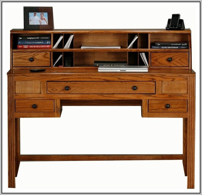 wood computer writing desk with drawers and hutch white