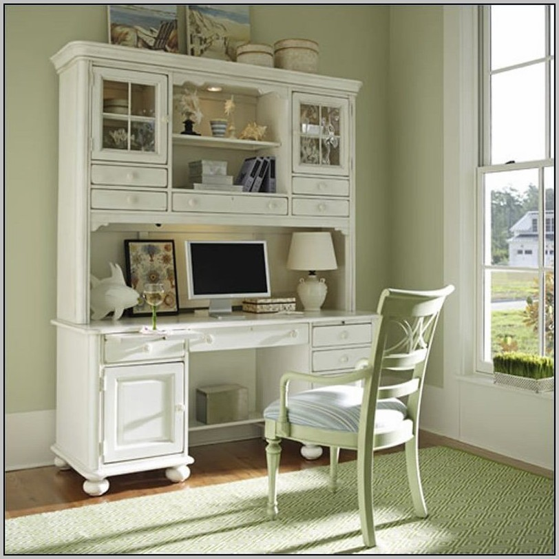 Antique White Corner Desk With Hutch