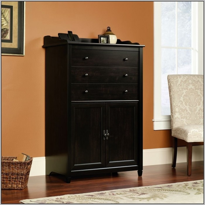 Black Wood Secretary Desk