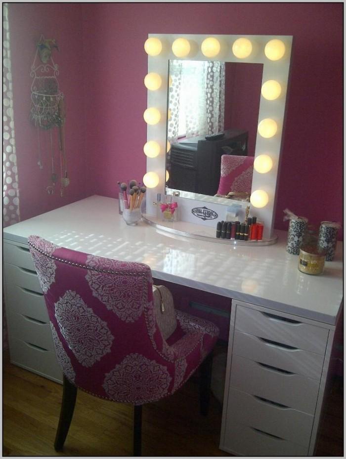 Broadway Lighted Vanity Makeup Desk Black