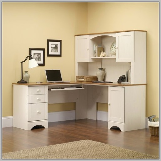 Corner Desk Hutch White