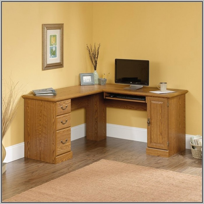 Corner Desk With Storage Oak Effect