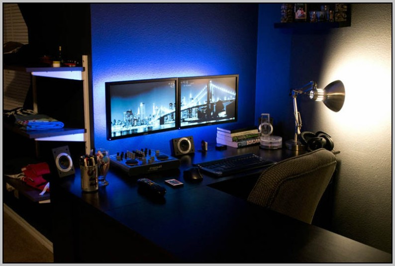 Dual Monitor Computer Desk With Hutch Download Page Home