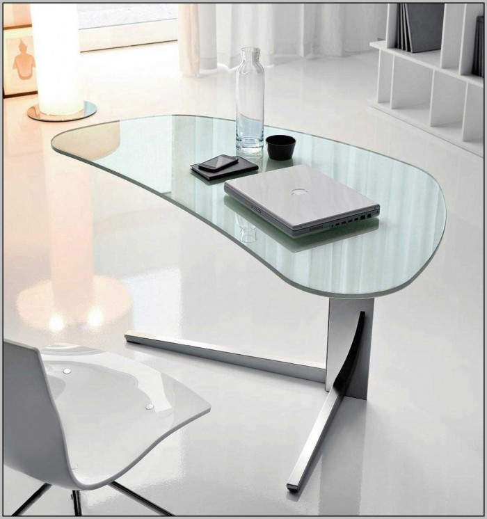 Glass Top Office Desk Modern