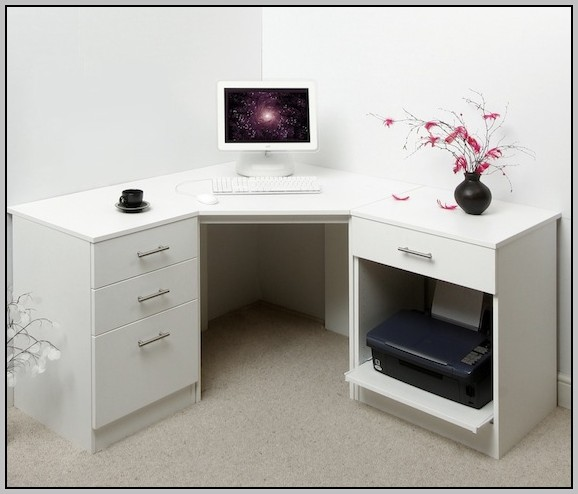 Home Office Corner Desk White