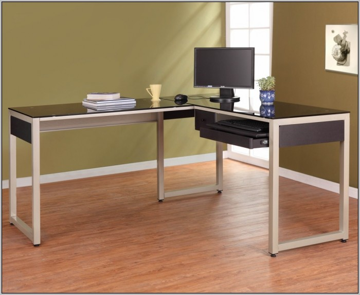 L Shaped Glass Computer Desk Black