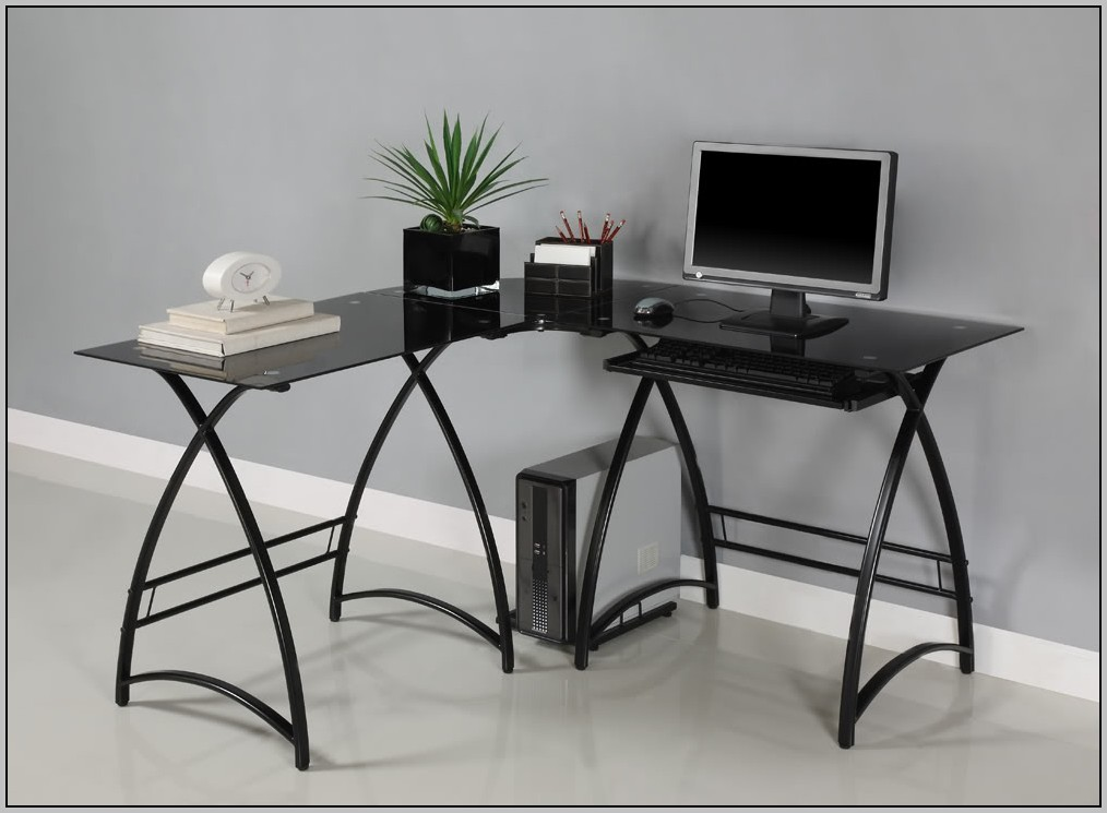 Large corner desk black desk home design ideas for Huge corner desk
