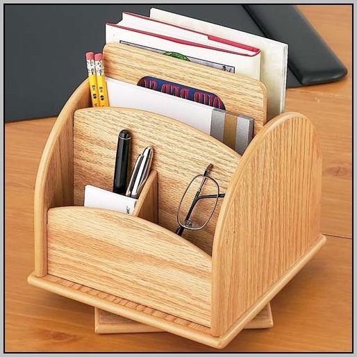 Rotating Desk Organizer Wood