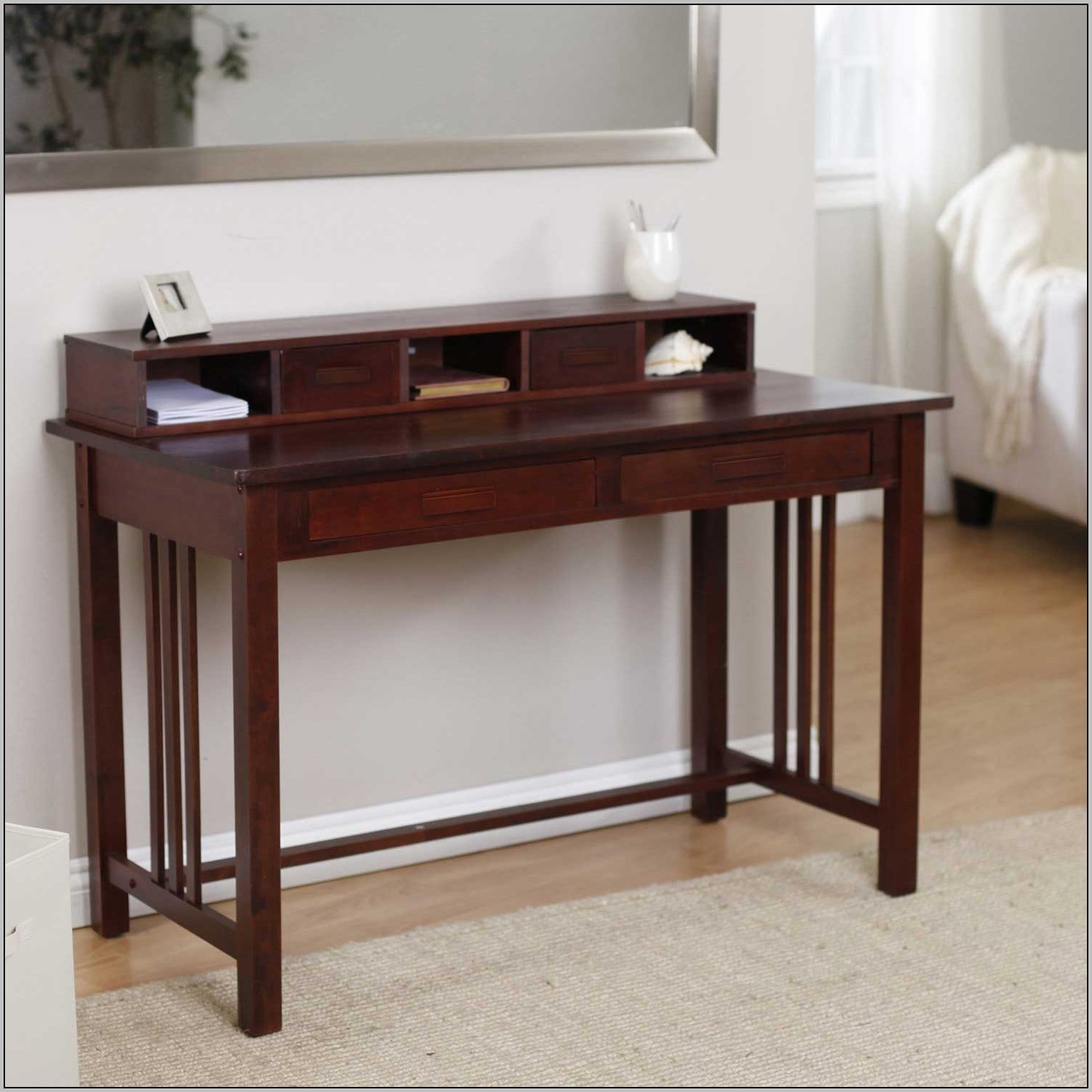 rustic writing desk Product features decorative wood writing desk table with elegant farmhouse legs and drawer.