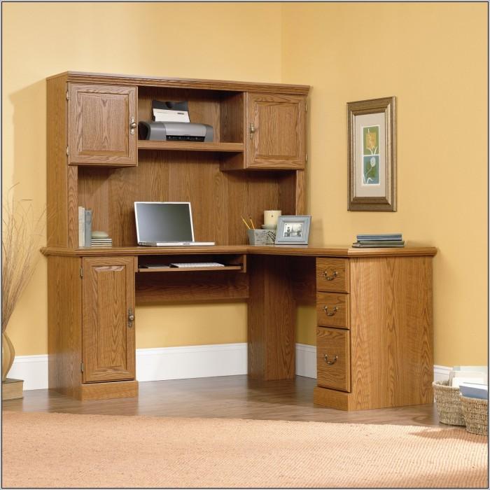 Sauder Computer Desk With Hutch Carolina Oak