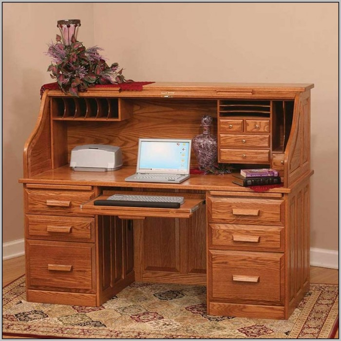 Small Wood Computer Desk With Hutch