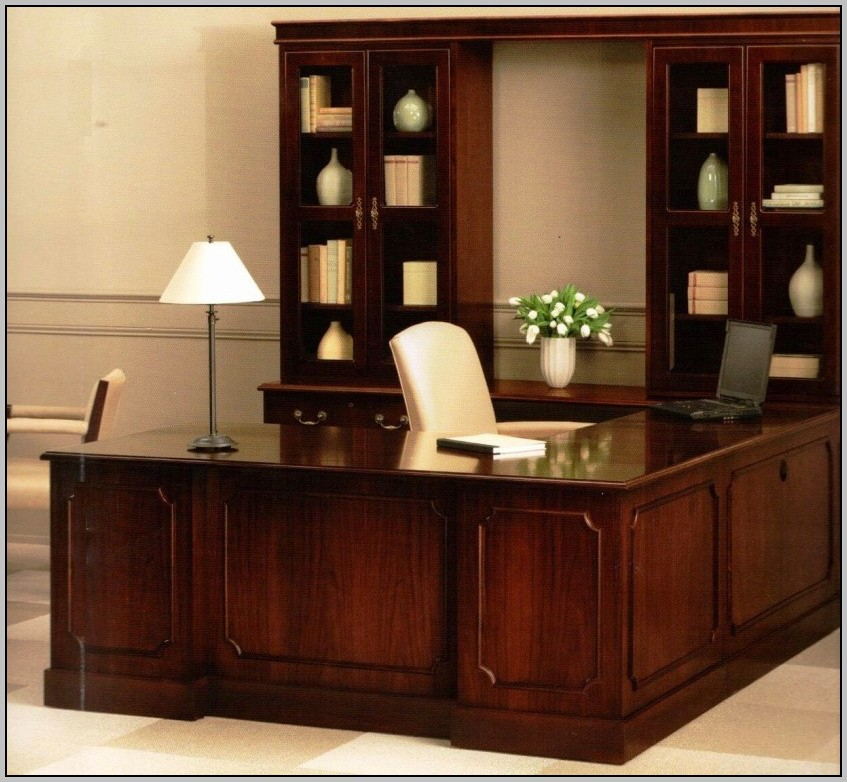 Solid Wood Office Desk With Hutch