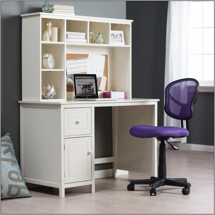 White Corner Study Desk With Hutch