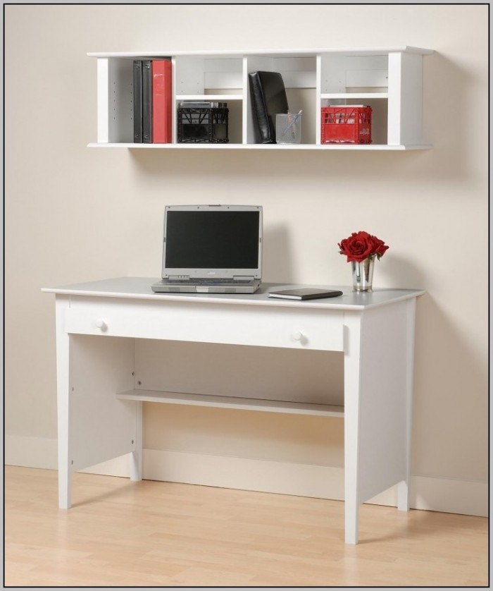 White Wood Computer Desk With Hutch