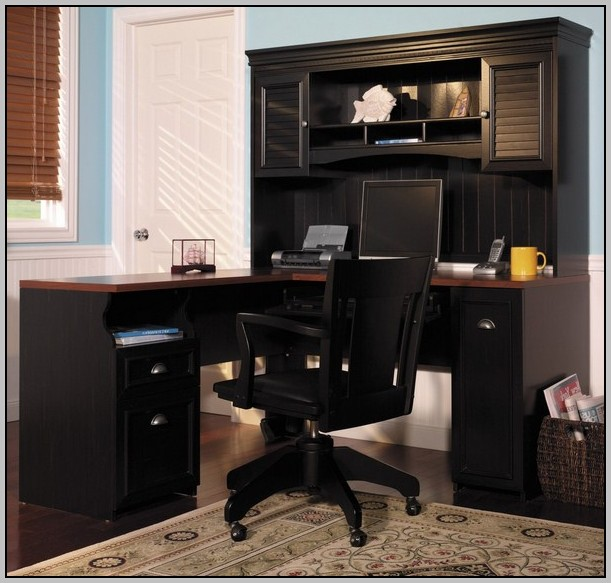 Wood Corner Desk With Storage
