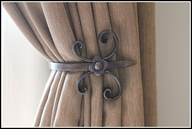 Metal curtain tie backs