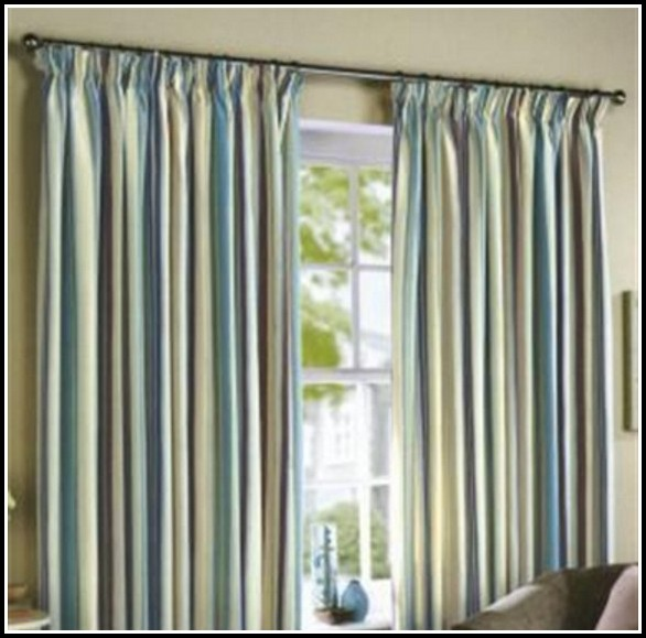 Blue And Gold Striped Curtains