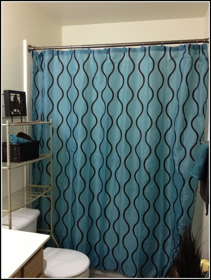 Brown And Teal Eyelet Curtains