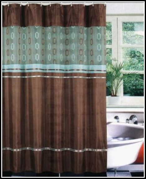 Brown And Teal Striped Curtains