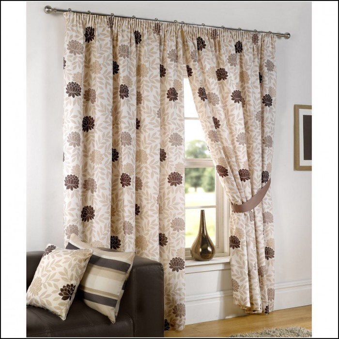 Brown Cream And Gold Curtains