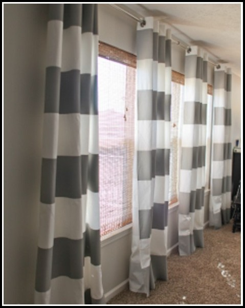 Grey And White Curtains With Grommets