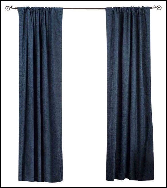 Ikea Navy Blue Velvet Curtains