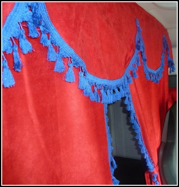 Navy Blue And Red Curtains