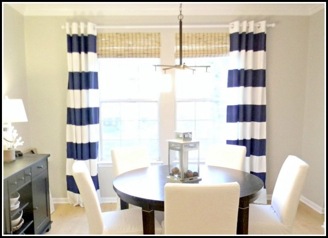 Navy Blue And Red Striped Curtains