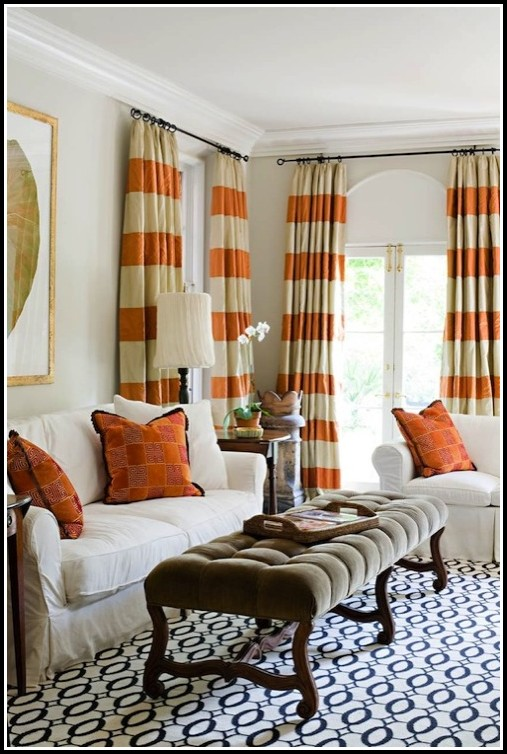 Orange And Beige Striped Curtains