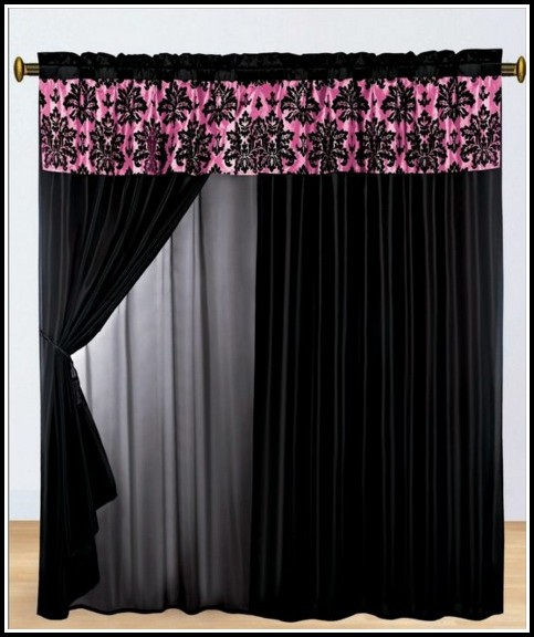 Pink And Black Striped Curtains