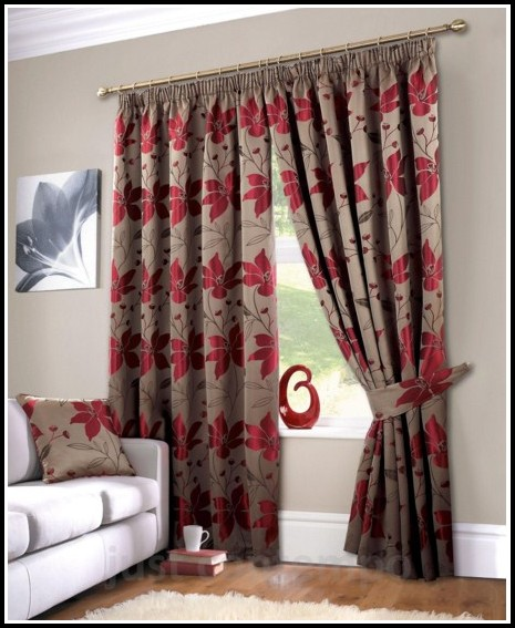 Red And Brown Floral Curtains