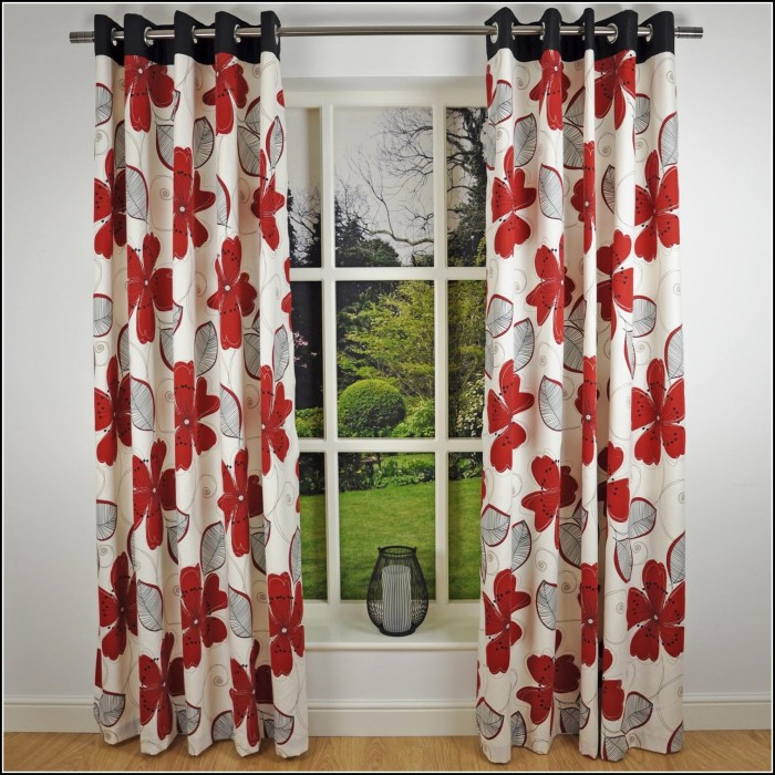 Red And Gray Plaid Curtains