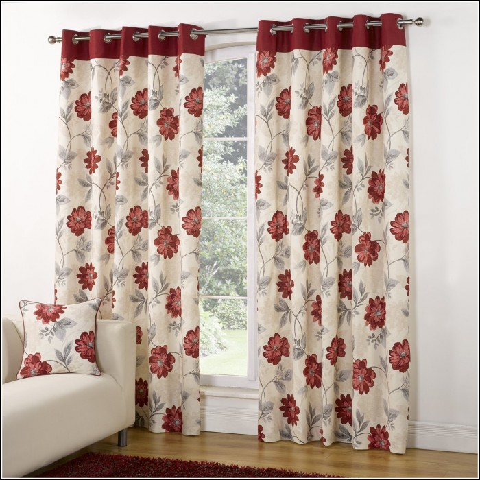 Red And Gray Window Curtains