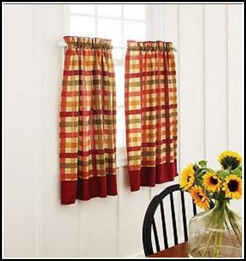 Red And Tan Gingham Curtains