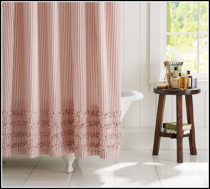 Red White Striped Curtain Panels