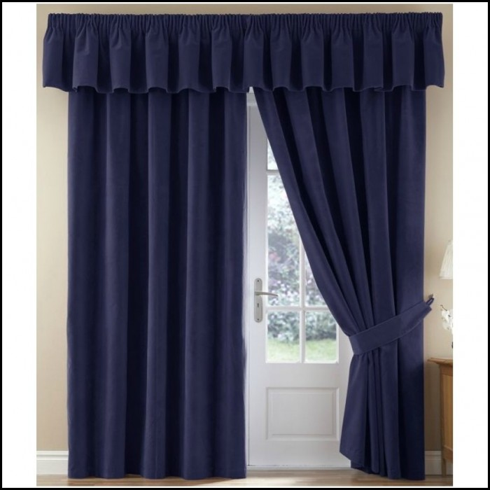 Sanela Navy Blue Velvet Curtains
