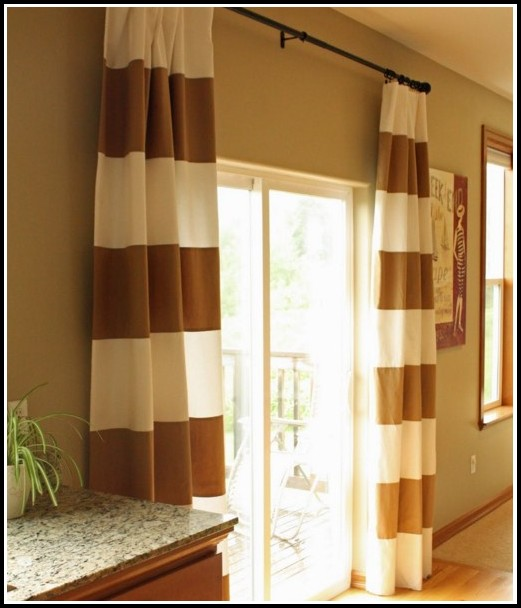 White And Gold Striped Curtains